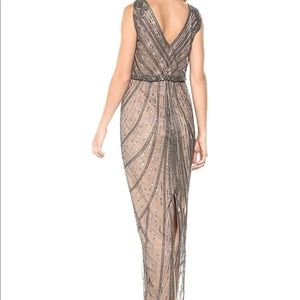 Adrianna papell sleeveless beaded lead gown